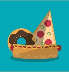 Pizza hot dog and donut of fast food concept vector