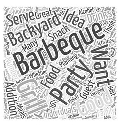 Planning a backyard barbeque party word cloud vector