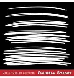 Set of white hand drawn scribble smears vector