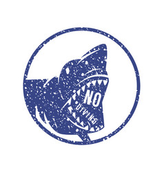 shark dangerous emblem vector image vector image