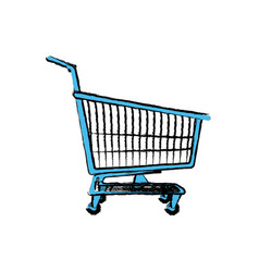 shopping cart basket market push vector image