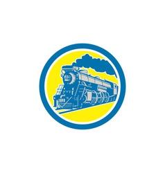 Steam train locomotive circle retro vector