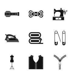 Tools for sewing dresses icons set simple style vector