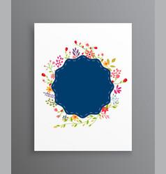 vintage wedding flowers invitation card vector image