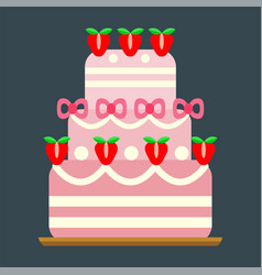 Wedding cake pie sweets dessert bakery flat simple vector
