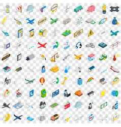 100 aeroplane icons set isometric 3d style vector