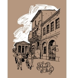 Original digital drawing of rome street italy vector