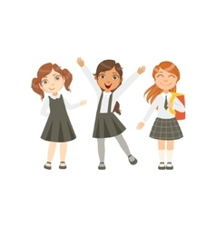 Girls in black and white outfits happy schoolkids vector