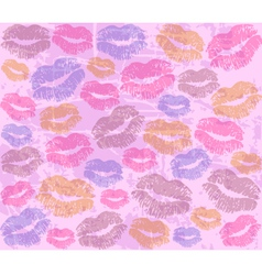 background with the imprints of lips vector image