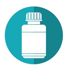 Medicine bottle capsule icon shadow vector