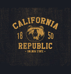 California t-shirt with grizzly bear head vector