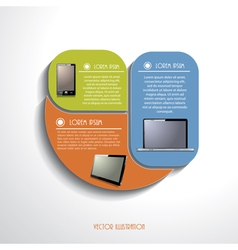 Modern infographics template with computer devices vector