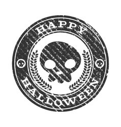 Happy halloween skull rubber stamp vector