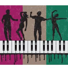Grunge background with dancing people vector
