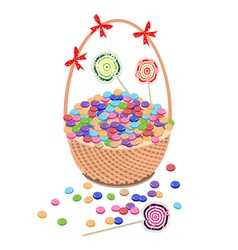 A brown basket of chocolates and lollipops vector