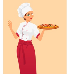 Italian tasty pizza and woman chef vector