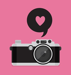 Retro camera icon flat style vector