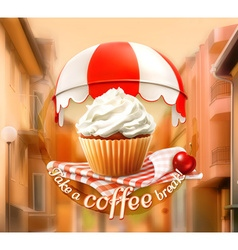 Cupcake and cherry an invitation to a cup of vector