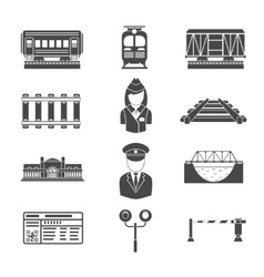 Set of railway black icons vector