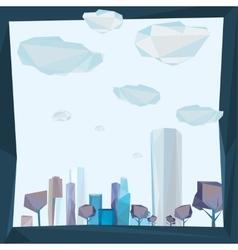 01 Polygonal cityscape frame vector image