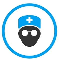 Medic head rounded icon vector