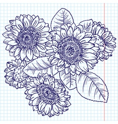 Doodle bouquet of sunflowers vector
