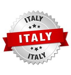 Italy round silver badge with red ribbon vector
