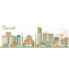 Abstract beirut skyline with color buildings vector