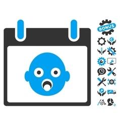 Baby head calendar day icon with bonus vector