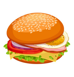 breakfast sandwich with cheese green lettuce vector image