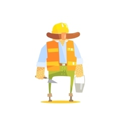 Builder With Trowel And Bucket On Construction vector image vector image