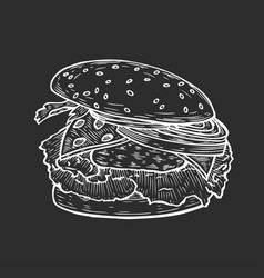 burger hand drawn vector image