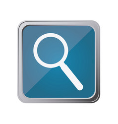 Button with magnifying glass with background blue vector