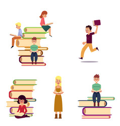 cartoon set of reading people and giant books vector image
