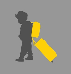 Child with travel bag vector