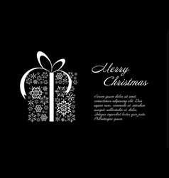 christmas card black and white template vector image vector image