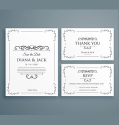 Clean wedding invitation thankyou card save the vector