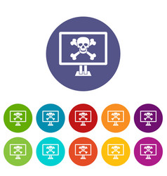 Computer monitor with a skull and bones set icons vector