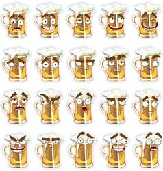 Cute series of smiles beer vector