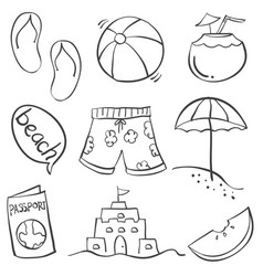 Doodle of summer object on beach vector