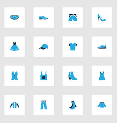 Dress colorful icons set collection of female vector