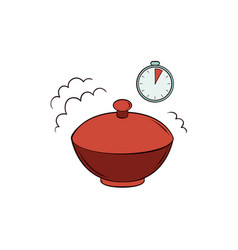 Flat noodles in closed bowl with timer icon vector