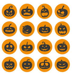 halloween pumpkins icons set vector image