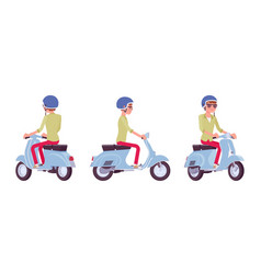 handsome young man riding a scooter vector image vector image