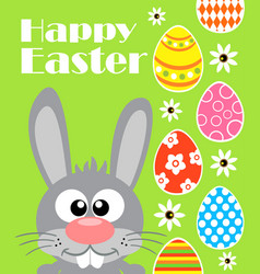 happy easter background card with funny rabbit gr vector image