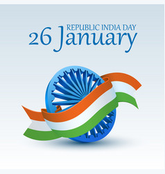 Happy indian republic day celebration 3d ashoka vector