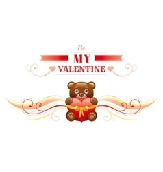 Happy valentines day border toy bear with heart vector