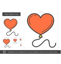 Heart balloon line icon vector