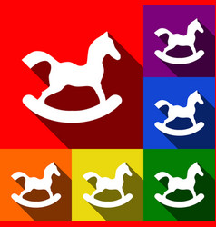 Horse toy sign set of icons with flat vector