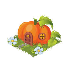 Isometric cartoon fantasy pumpkin village house - vector